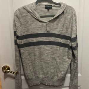 Gray express sweater with hood